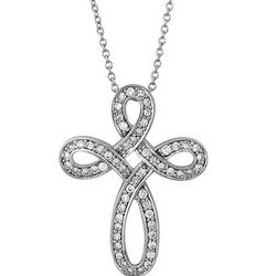 CZ Sterling Silver Cross Pendant Necklace