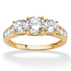 10k Gold DiamonUltra Cubic Zirconia Ring