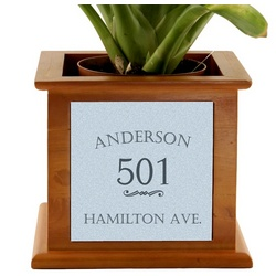 House Address Wooden Planter