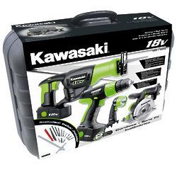 Kawasaki Four Piece 18 Volt Cordless Tool Kit