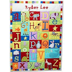 Personalized Baby Alphabet Quilt in Primary Colors