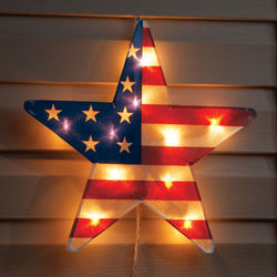 "American Falg 16"" Lighted Star Decor"