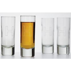 Highrise Shot Glass Set with Block Font
