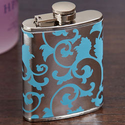 Mini Silver and Blue Floral Hip Flask