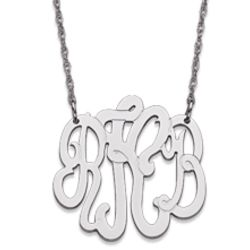 Small Sterling Silver 3 Initial Monogram Necklace