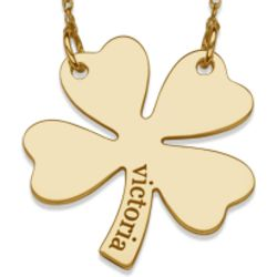 Engraved Name 10 Karat Yellow Gold Clover Necklace