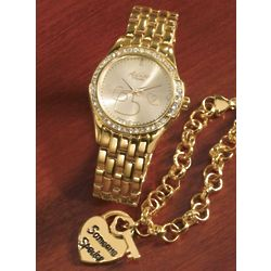 Heart Watch and Key to Your Heart Charm Bracelet