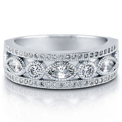 Sterling Silver Marquise Cut CZ Art Deco Eternity Ring