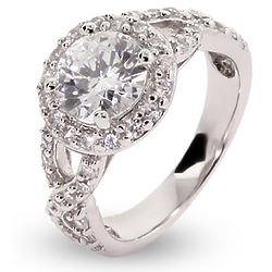 Halo Round Cubic Zirconia Vintage Style Ring