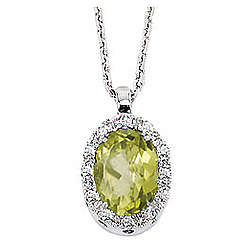 Vintage Style 14K Diamond Peridot Oval Drop Pendant Necklace