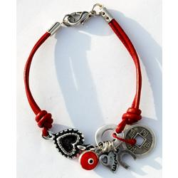 Red Leather Feng Shui Lucky Charms Bracelet