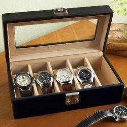 Black Leather Watch Valet