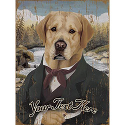 Personalized Vintage Yellow Lab Wooden Plaque