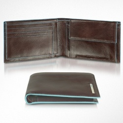 Blue Square Men's Leather Card Holder and ID Wallet
