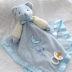 Personalized Teddy Bear Blue Baby Blanket