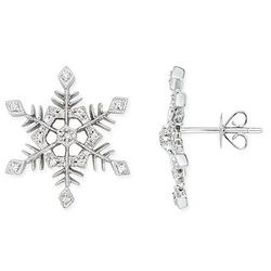 Diamond 14k White Gold Snowflake Earrings