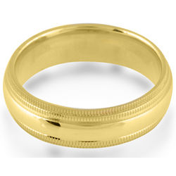 Gold Plated Titanium Double Milgrain Comfort Fit Wedding Band