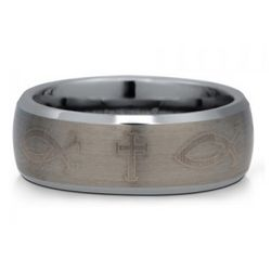 Men's 8mm Brushed Tungsten Ring with Christian Fish and Cross