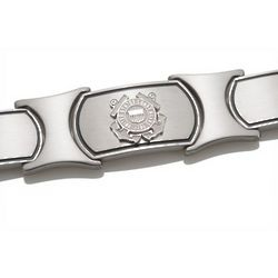 Men's Sterling Silver and Stainless Steel US Coast Guard Bracelet