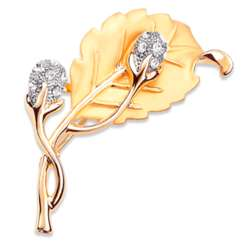 Goldtone Crystal Flower Brooch