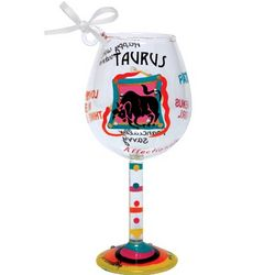 Taurus Mini Wine Glass Ornament