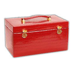 Red Crocodile Leather Jewelry Box