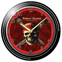 Pirates of the Caribbean Neon Wall Clock