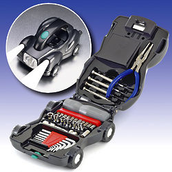 Car-Shaped Toolbox Kit with Lights