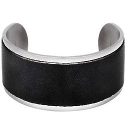 Stainless Steel Wide Black Leather Cuff Bracelet