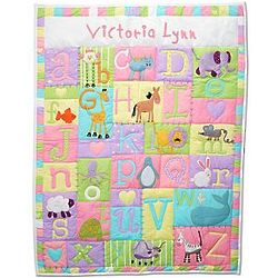 Personalized Baby Alphabet Quilt in Pastel Colors