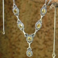 Sunshine Citrine and Sterling Silver Y-Necklace
