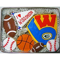 Wisconsin Sports Teams Decorated Cookie Gift Tin