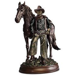 John Wayne with His Horse Cold-Cast Bronze Sculpture