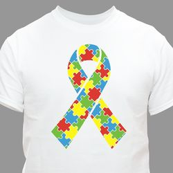 Autism Puzzle Piece Ribbon T-Shirt in Youth or Adult