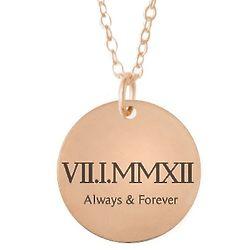 Roman Numeral Copper Anniversary Disc Necklace