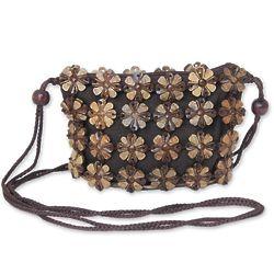 Petite Garden Floral Coconut Shell Shoulder Bag