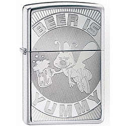 Beer is Yummy High Polich Chrome Zippo Lighter