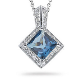Diamond and London Blue Topaz Pendant in 14K White Gold