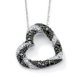 10k White Gold Black and White Diamond Heart-Shaped Pendant