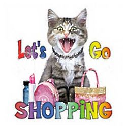 Let's Go Shopping Cat Cotton T-Shirt