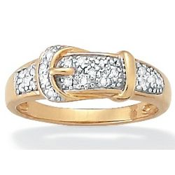 18k Gold Over Silver Diamond Buckle Ring