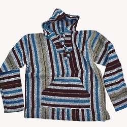 Blue and Brown Stripe Baja Hoodie