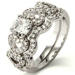 Loving Hearts Cubic Zirconia Engagement Ring Set