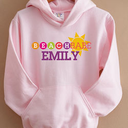 Beach Babe Personalized Youth Hooded Sweatshirt