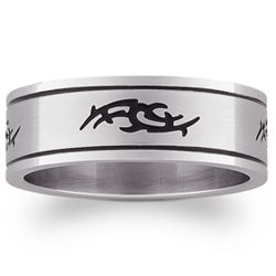Men's Stainless Steel Tribal Flat Band