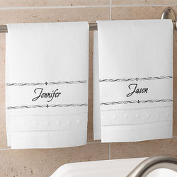 Personalized White Linen Hand Towels