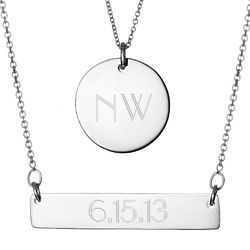 Engravable Bar and Round Tag Layered Pendant Set in Silver