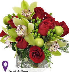 Orchid and Red Roses Bouquet
