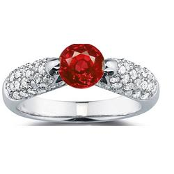 Diamond and Ruby Ring in 14K White Gold