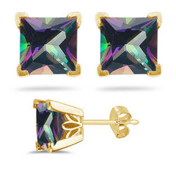 Mystic Green Topaz Stud Earrings in 14K Yellow Gold